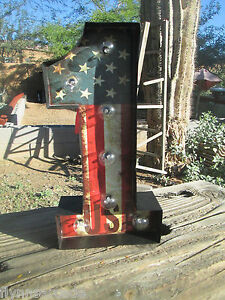 1 Usa Lighted Up Red White Blue Display Harley Davidson Motorcycle Rat Rod One