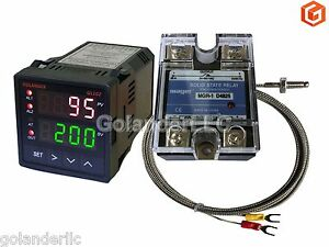 Dual Display Digital Pid F c Temperature Controller K Thermocouple 25a Ssr