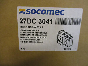Socomec 27dc3041 400 Amp 600 Vdc Pv Disconnect Switch New