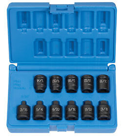 Grey Pneumatic 11pc 3 8 Dr Square Pipe Plug Impact Socket Set 1211p