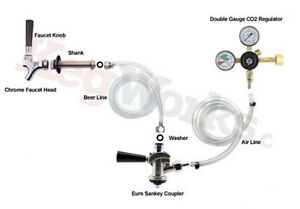 Kegerator Refrigerator Draft Beer Conversion Kit european Sankey No Co2 Tank