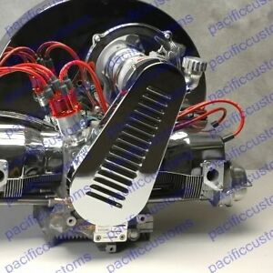 Chrome Louvered Pulley Fan Belt Guard For Vw Beetle Engine Trikes Dune Buggy