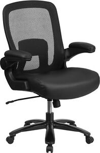 Big Tall Black Mesh Executive Office Chair With Leather Seat And Flip up Arm
