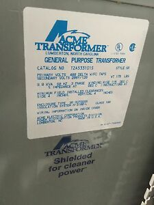 Acme Electric T2a533101s Dry Type Distribution Transformer 3 Phase 480v Del