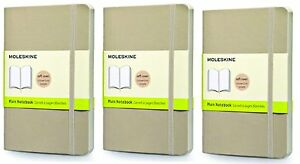Pack Of 3 Moleskine Classic Notebook Pocket Plain Khaki Beige Soft Cover
