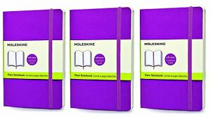 Pack Of 3 Moleskine Classic Notebook Pocket Plain Purple Orchid Soft Cover