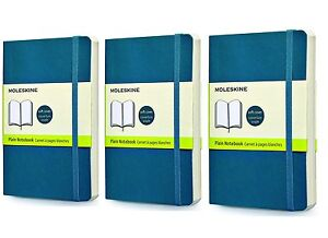 Pack Of 3 Moleskine Classic Notebook Pocket Plain Underwater Blue Soft Cover