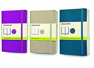 Pack Of 3 Moleskine Classic Notebook Pocket Plain Soft Cover 3 Colors