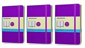 Pack Of 3 Moleskine Colored Notebook Pocket Dotted Orchid Purple Soft Cover