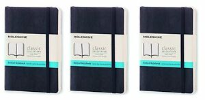 Pack Of 3 Moleskine Classic Colored Notebook Pocket Dotted Black Soft Cover