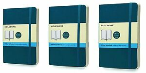 Pack Of 3 Moleskine Classic Colored Notebook Pocket Dotted Underwater Blue