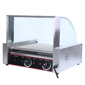 Commercial 30 Hot Dog 11 Roller Grill Cooker Machine 2200w W Cover