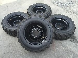 4 27x10 50 15 Deestone Skid Steer Tires wheels rims 27x10 5 15 for Bobcat
