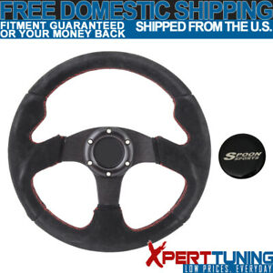 Fit Black Red Stitch Suede Racing Steering Wheel 320mm Horn 14 Inch Spoon Logo