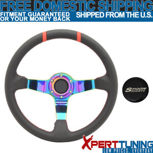 Fit For 350mm Black Cf Red Stitches Neo Spoke Racing Steering Wheel spoon Logo