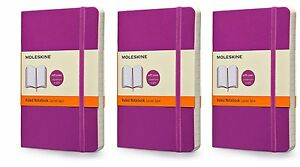 Pack Of 3 Moleskine Colored Soft Cover Notebook Pocket Ruled Orchid Purple