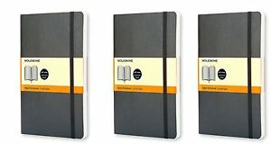 Pack Of 3 Moleskine Colored Soft Cover Notebook Pocket Ruled Black