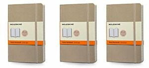 Pack Of 3 Moleskine Colored Soft Cover Notebook Pocket Ruled Khaki Beige