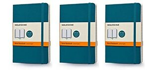 Pack Of 3 Moleskine Colored Soft Cover Notebook Pocket Ruled Underwater Blue
