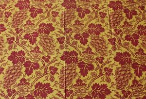 Rare French Provencal Resist Block Print Grape Leaf Toile Fabric C1820 30