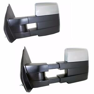 Chrome Towing Power Heated Pair Tow Mirrors Signal Puddle For 07 14 Ford F150
