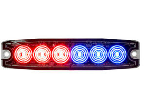 Buyers Products 8892205 Recessed Red blue Led Thin Mount Horiz Strobe Light