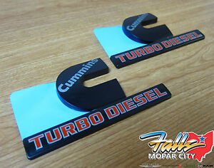 Dodge Ram 2500 3500 Set Of Black Cummins Turbo Diesel Decal Nameplate Emblem Oem