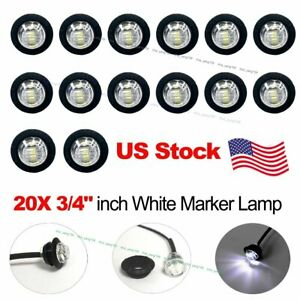 20x 3 4 12v White Led Clearance Marker Bullet Truck Trailer Lights Lamp Us Ship