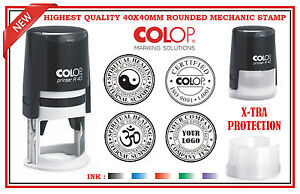 Colop Custom Made Self Inking Rubber Stamp 40x40mm Round Logo Business Garage V2