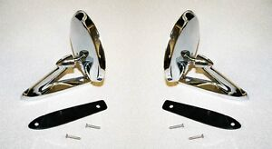 New 1965 1966 Mustang Chrome Outside Mirror Right Left Side Pair Mirrors