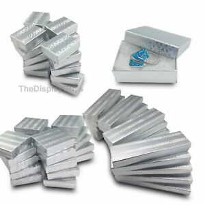 Us Seller 100 Pcs 3 3 4 x3 3 4 x2 Silver Foil Cotton Filled Jewelry Boxes Cases