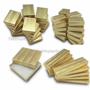 Us Seller lot Of 50 Pcs 3 1 2 x3 1 2 x1 Gold Foil Cotton Filled Jewelry Boxes