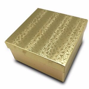 Us Seller lot Of 50 Pcs 3 3 4 x3 3 4 x2 Gold Foil Cotton Filled Jewelry Boxes