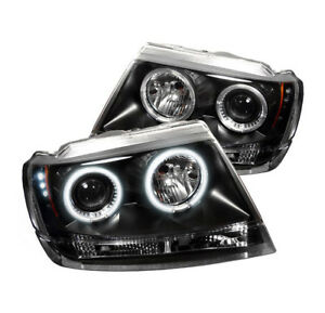 1999 2004 Jeep Grand Cherokee Black Front Ccfl Halo Projector Led Drl Headlights