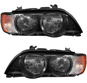 Headlights Headlight Assembly w bulb W white Signal Pair Set For 00 03 Bmw X5