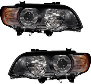 Hid Headlight Headlights Assembly w clear Signal Pair Set For 2000 2003 Bmw X5