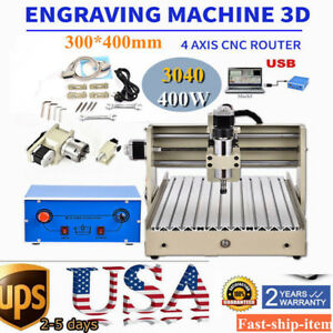 Usb Port 4 Axis 3040 Spindle Cnc Router Engraver Engraving Milling Drill Machine