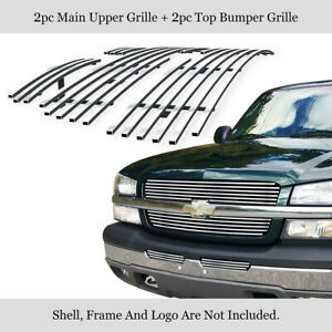Fits 2003 2005 Chevy Silverado 1500 03 04 2500 3500 Chrome Billet Grille Combo