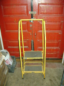 Yellow Steel Rolling Stair Ladder 2 Step