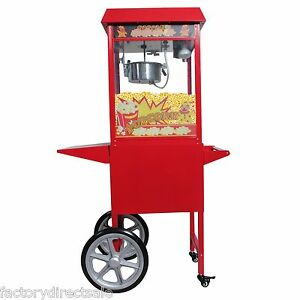 New 8 Oz Electrics Popcorn Red Antique Style Popcorn Popper Machine Stand