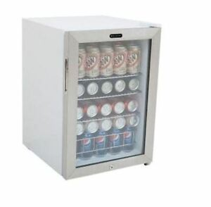 Compact White Stainless Steel 90 Can Cooler Beverage Refrigerator Lock 19 In