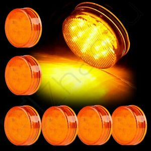 3 Pairs Amber Round 2 1 2 Side Marker Light Truck Trailer Lamps 13 Led Sealed