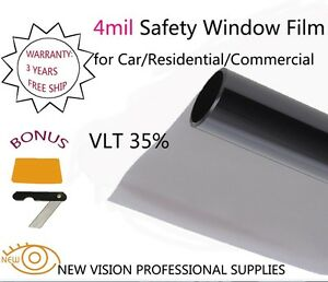 New Vision 4mil Vlt35 Security And Safety Window Films 76cmx6m High Quality