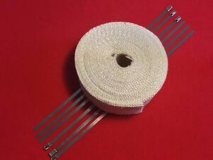 White Exhaust Pipe Header Fiberglass Heat Wrap 6 Ties Car Motorcycle 10mx2 wide