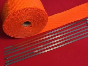 Orange Exhaust Pipe Header Fiberglass Heat Wrap 6 Tie Car Motorcycle 10mx2 Wide