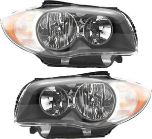 Headlights Headlight Assembly w bulb New Set Pair 08 11 Bmw 128i 135i Coupe