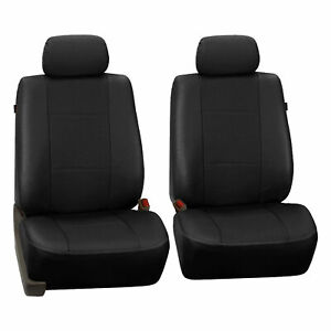 Faux Synthetic Leather Car Seat Covers Front Bucket Covers Black