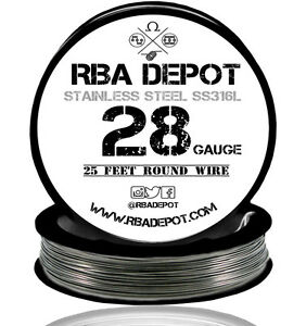 Rba Depot Stainless Steel Ss 316l Competition Resistance Wire 28 Gauge Awg 25ft