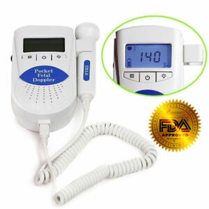 Fda Us Prenatal Fetal Doppler Baby Heart Beat Monitor 3mhz Probe gel Batteries