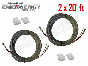 2x 20 Ft Strobe Cable 3 Conductor Wire Amp Power Supply W Connector For Whelen